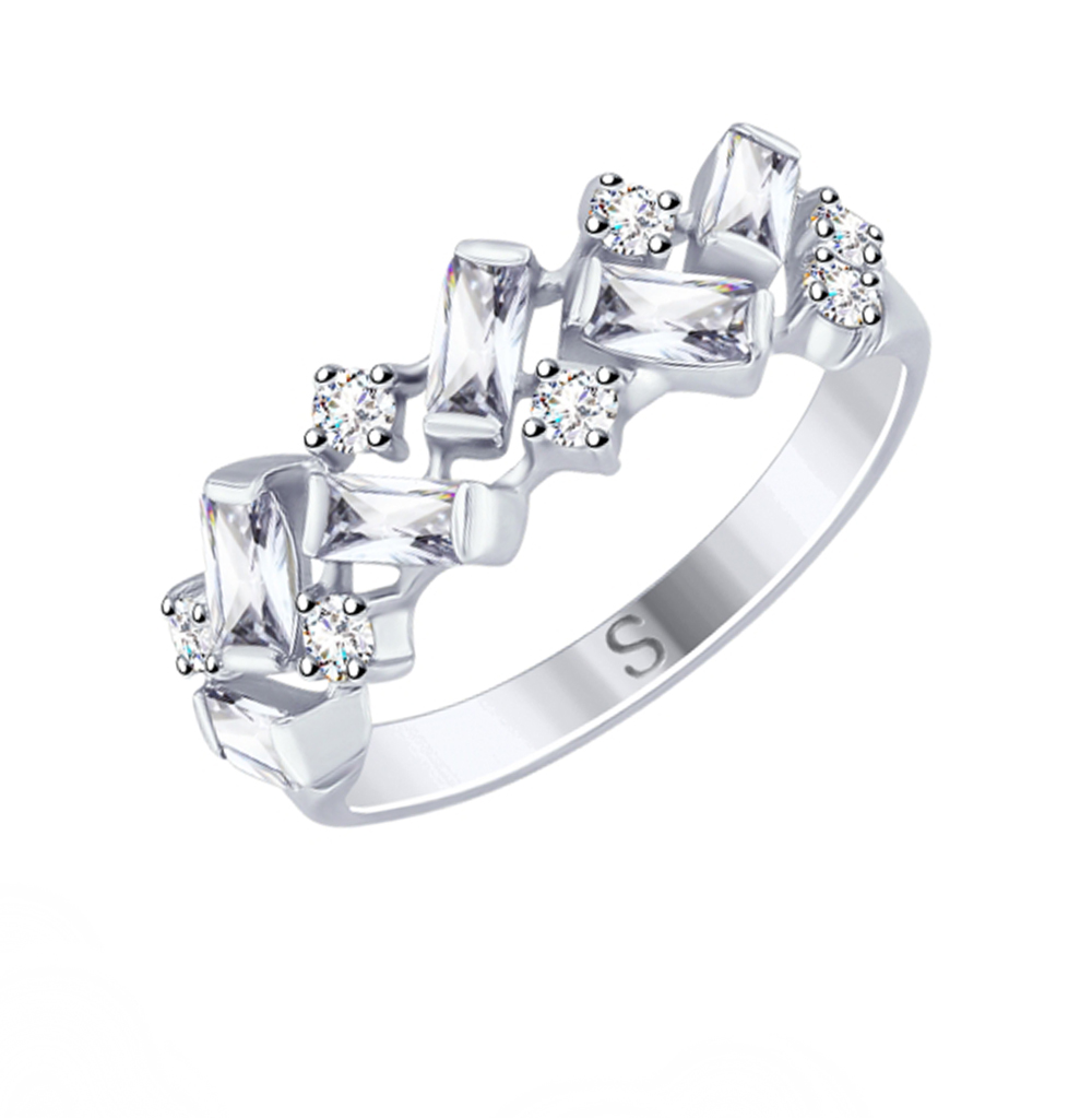 серебряное кольцо с фианитами SOKOLOV 94012492