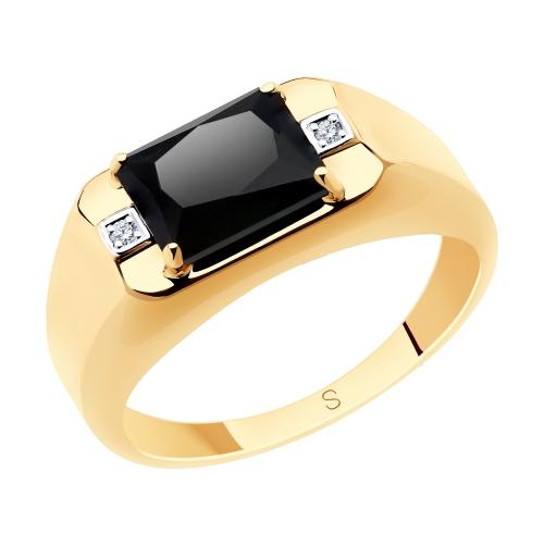 Фото «Золотое кольцо с ониксом и фианитами SOKOLOV 715591»