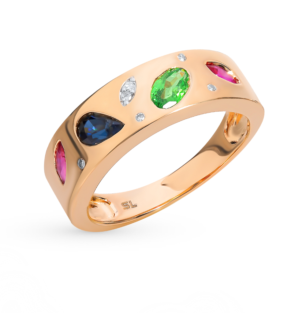 Фото «Золотое кольцо с рубинами, сапфирами, цаворитами и бриллиантами»