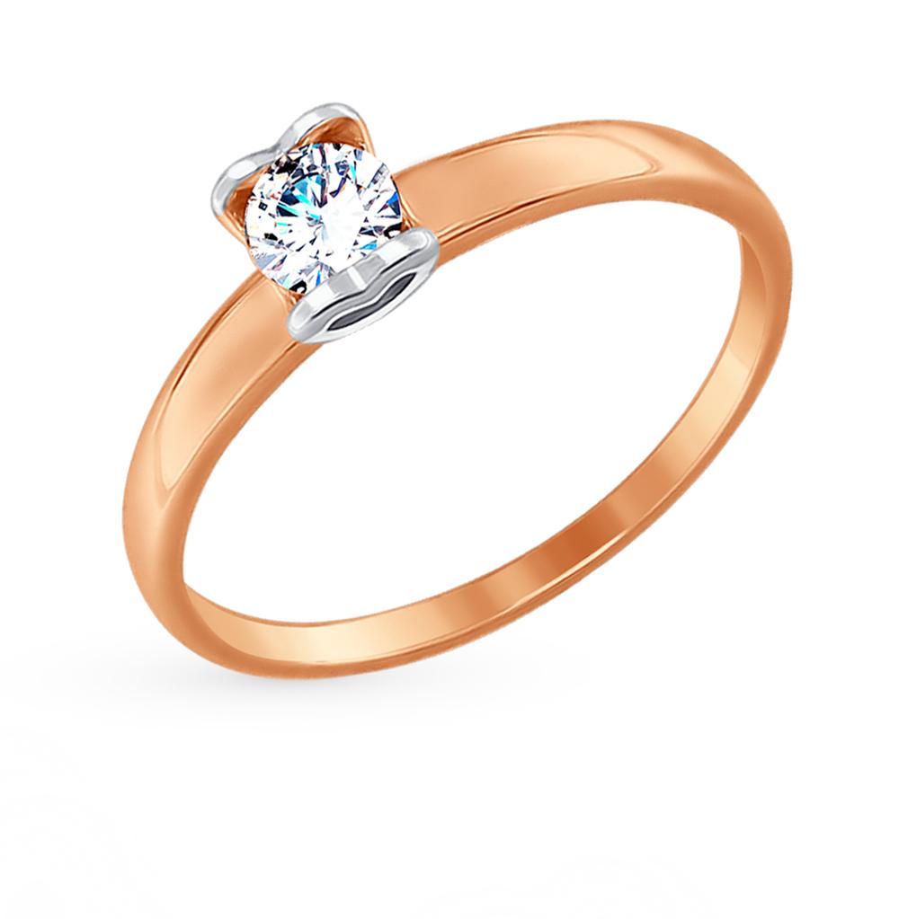 золотое кольцо с фианитами SOKOLOV 017480