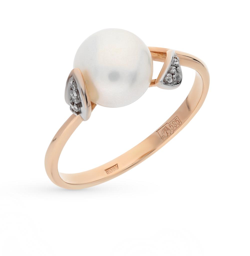 Фото «золотое кольцо с фианитами, жемчугом и шпинелями синтетическими»