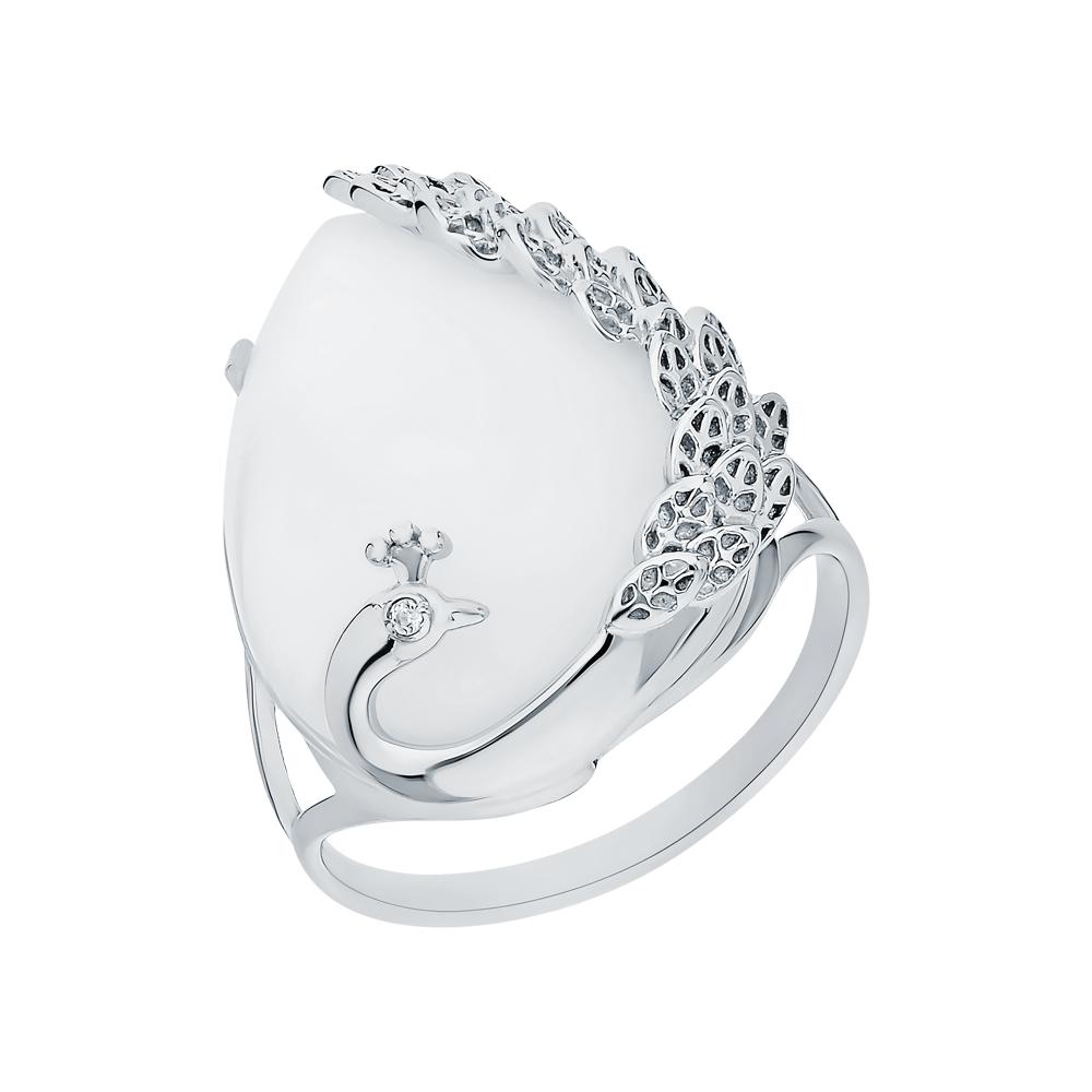 Фото «Серебряное кольцо с лунными камнями и кубическим цирконием»