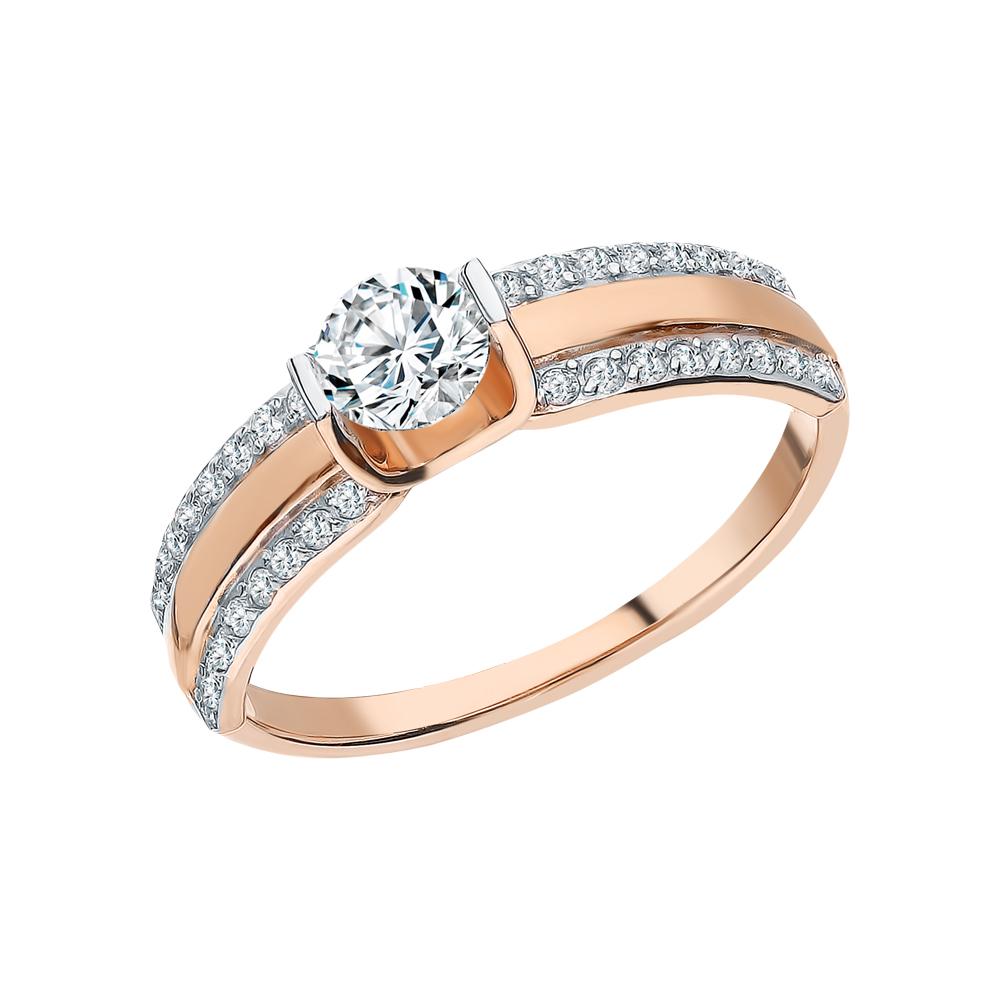 Фото «Золотое кольцо с фианитами SOKOLOV 018464*»