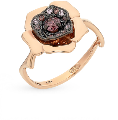 Фото «золото кольцо с фианитами и родолитами»
