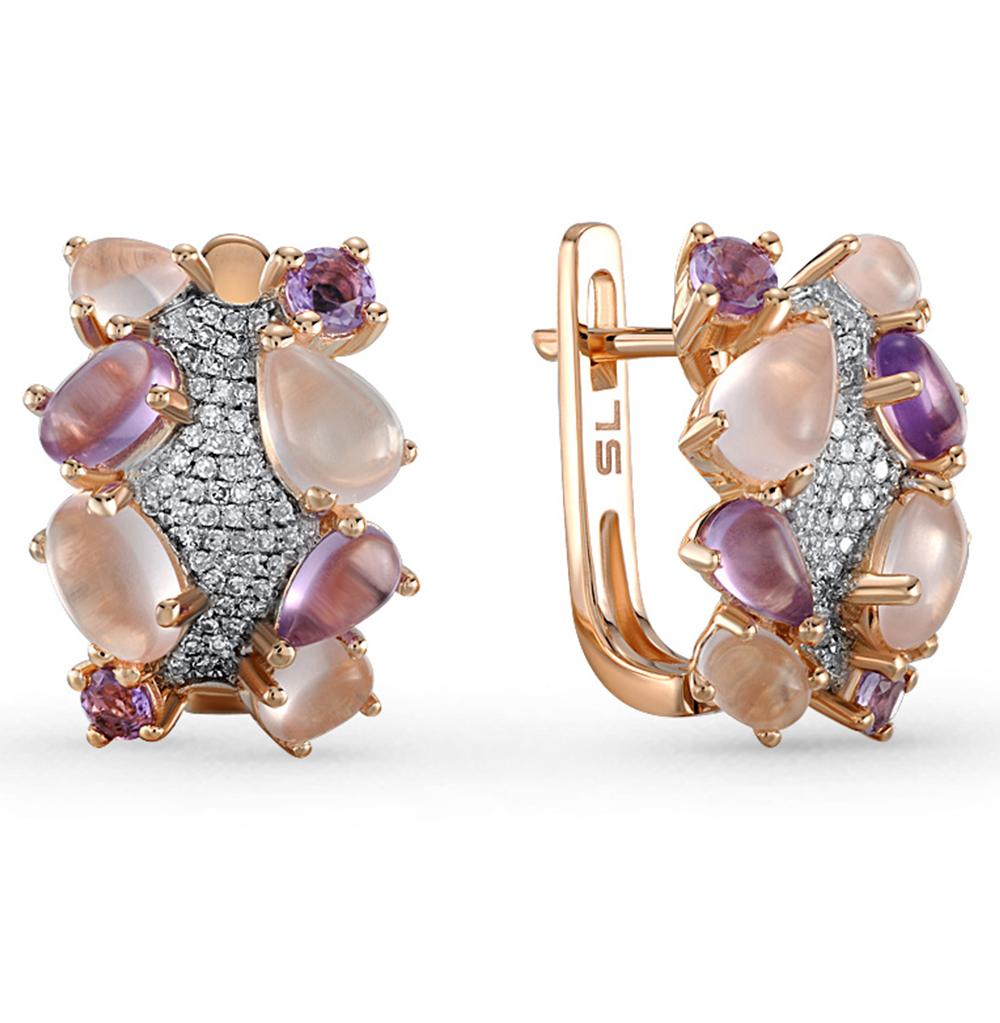 Фото «золотые серьги с аметистом, кварцем и бриллиантами»