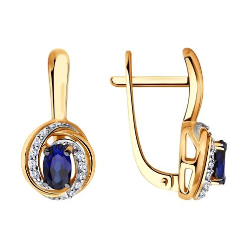 Фото «Золотые серьги с сапфирами и бриллиантами SOKOLOV 2020966»