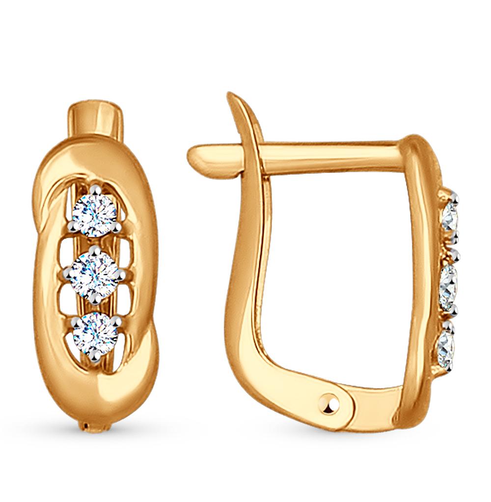 золотые серьги с фианитами SOKOLOV 027169*