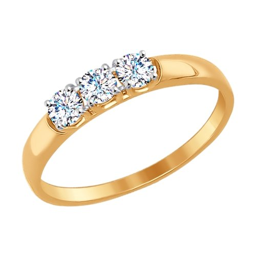 Фото «Золотое кольцо с фианитами SOKOLOV 81010283*»