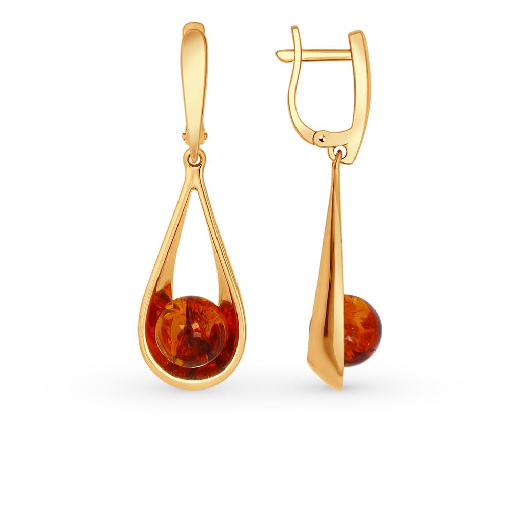серебряные серьги с янтарем SOKOLOV 93020626