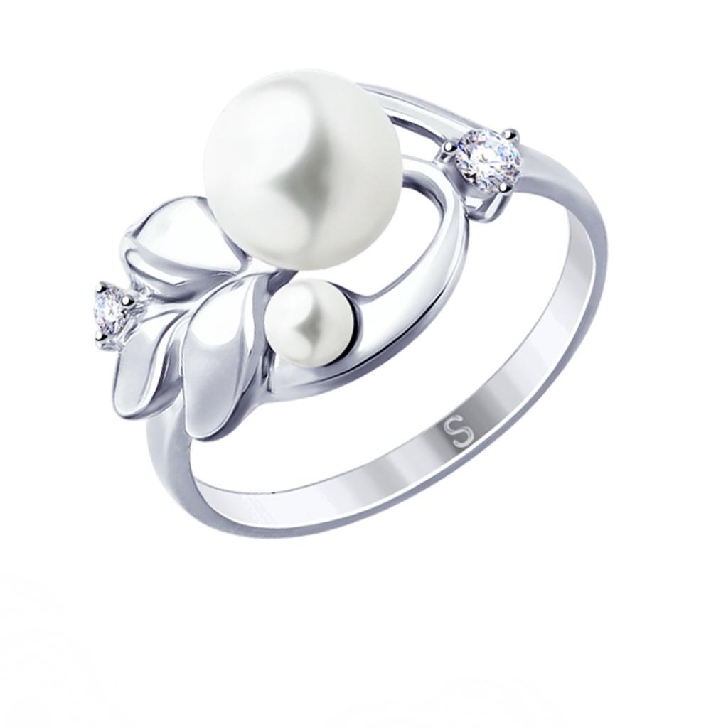 Фото «Серебряное кольцо с фианитами и жемчугом SOKOLOV 94012959»