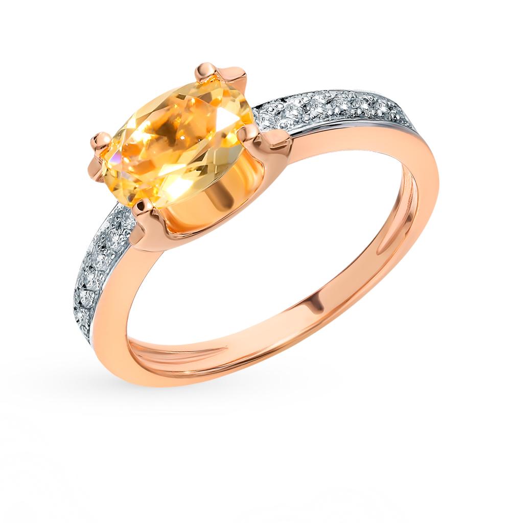 Золотое кольцо с фианитами и цитрином в Екатеринбурге
