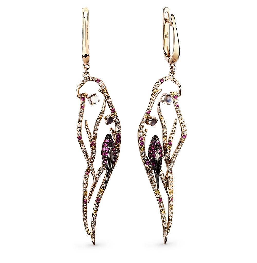 Фото «золотые серьги с рубинами, лунными камнями и бриллиантами»