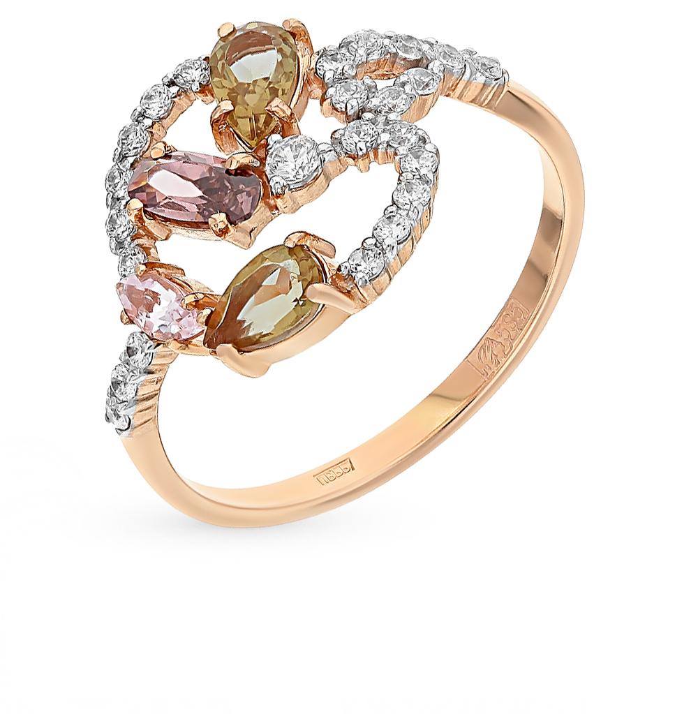 Фото «золотое кольцо с морганитами, султанитами и родолитами»