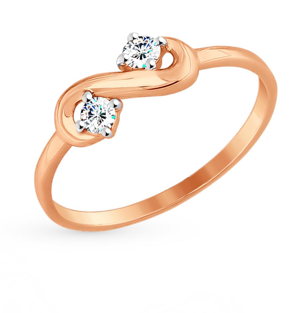 золотое кольцо с фианитами SOKOLOV 017555*