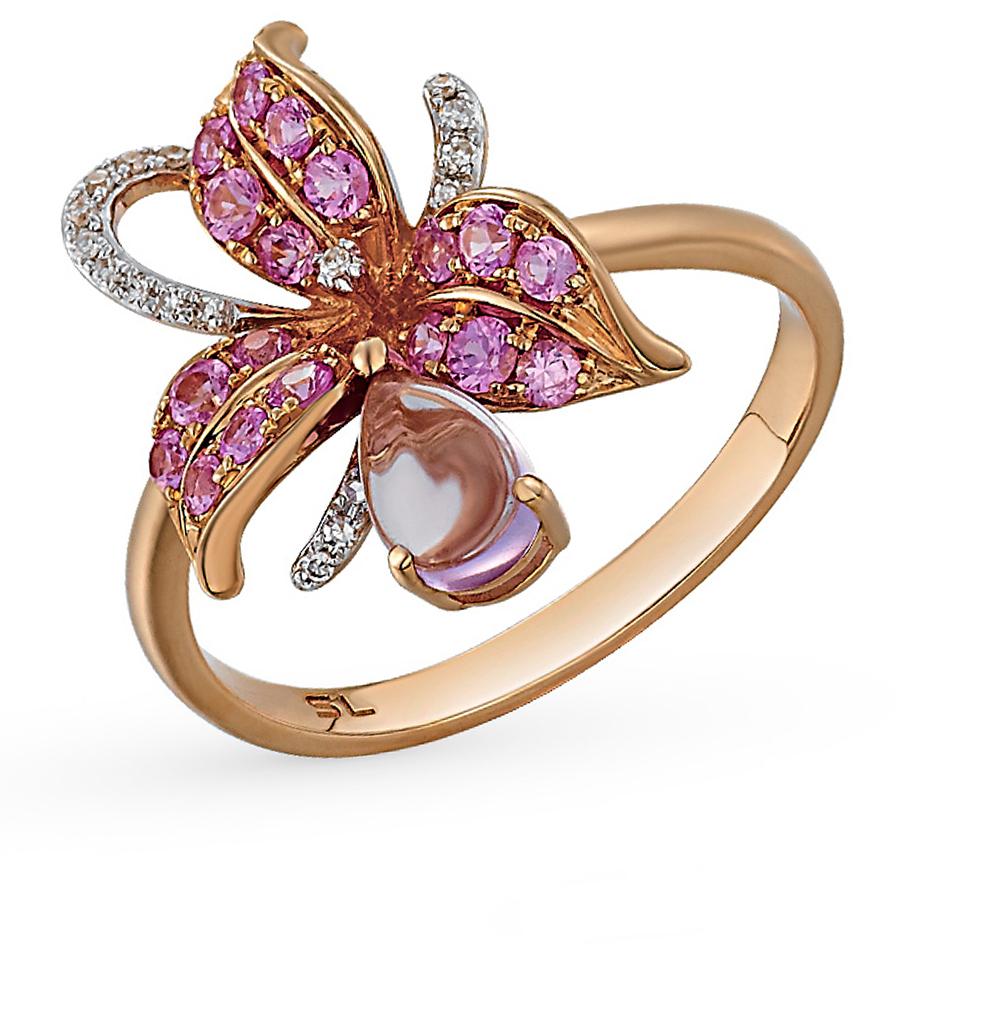 Фото «золотое кольцо с аметистом, изумрудами, сапфирами и бриллиантами»