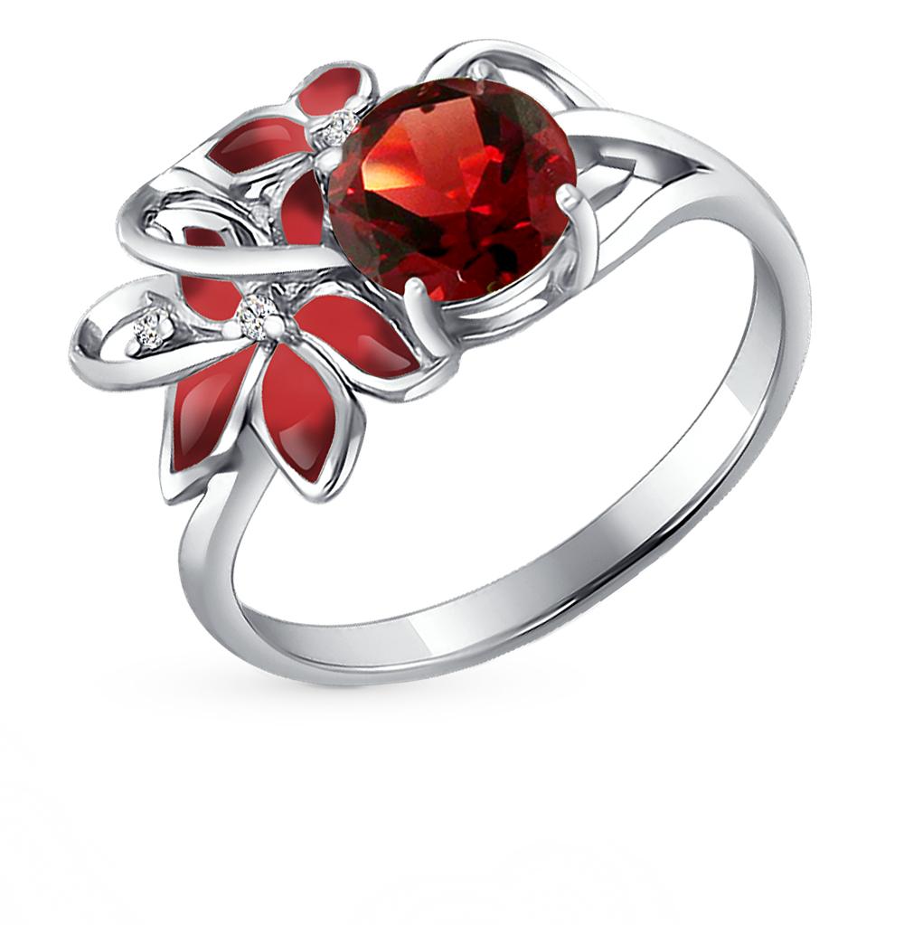 Фото «серебряное кольцо с гранатом, фианитами и эмалью»