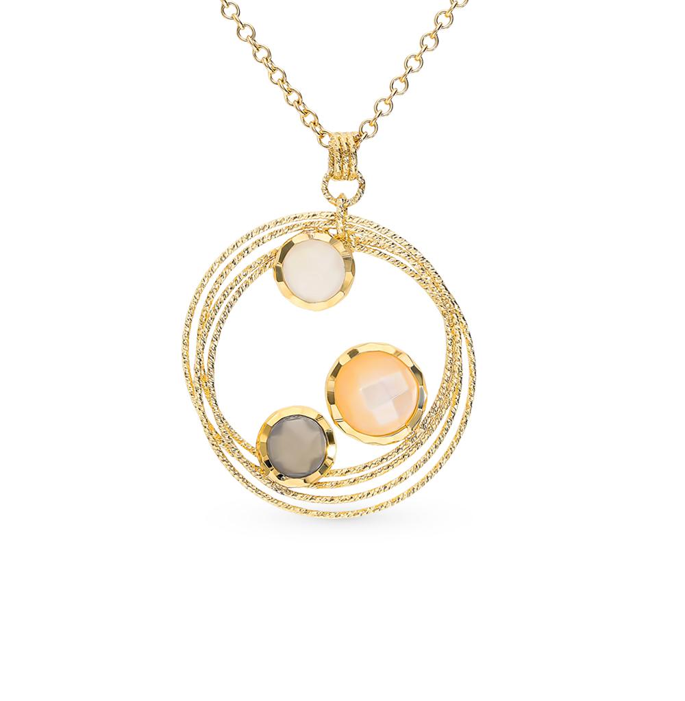 золотое шейное украшение с перламутром