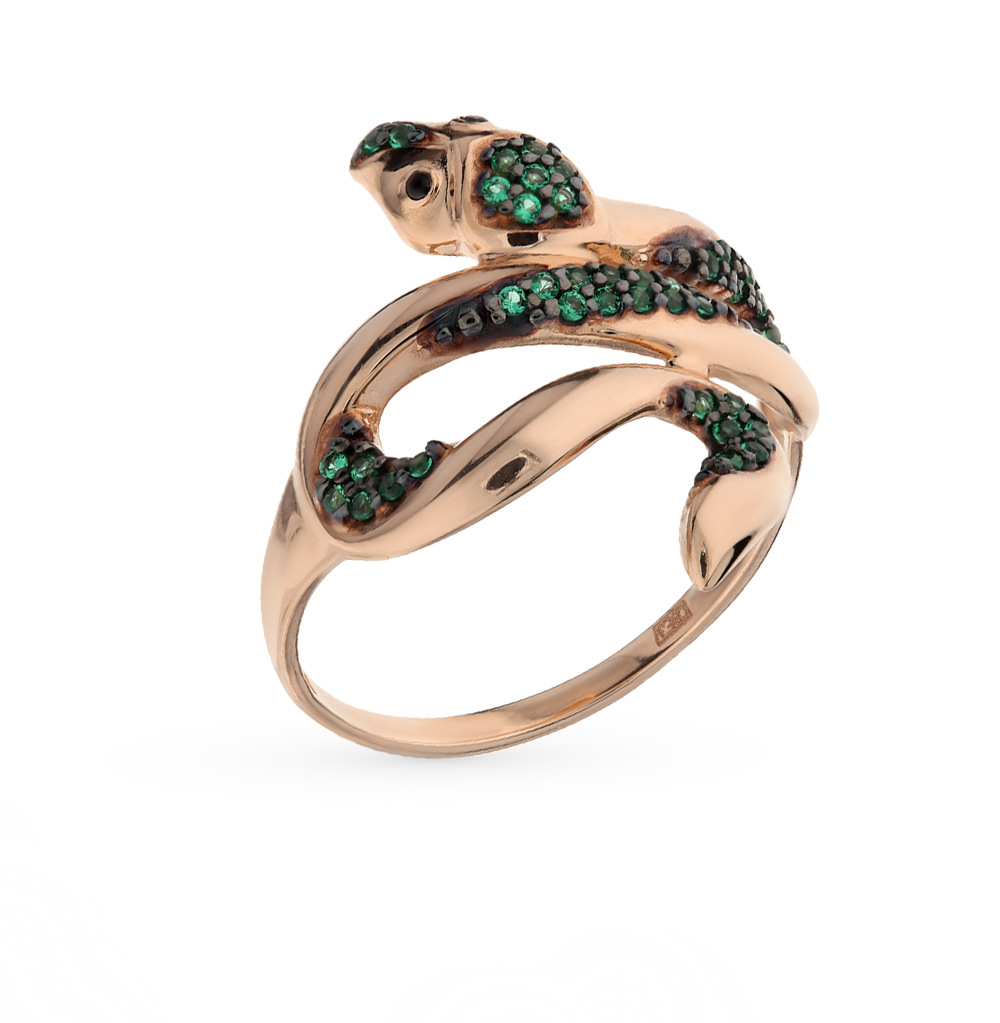золотое кольцо с фианитами SOKOLOV 017117*