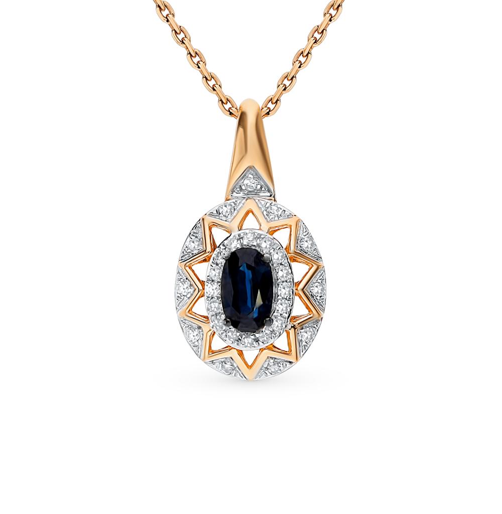 золотая подвеска с сапфирами и бриллиантами