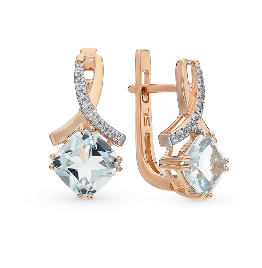Фото «золото серьги с топазами и бриллиантами»