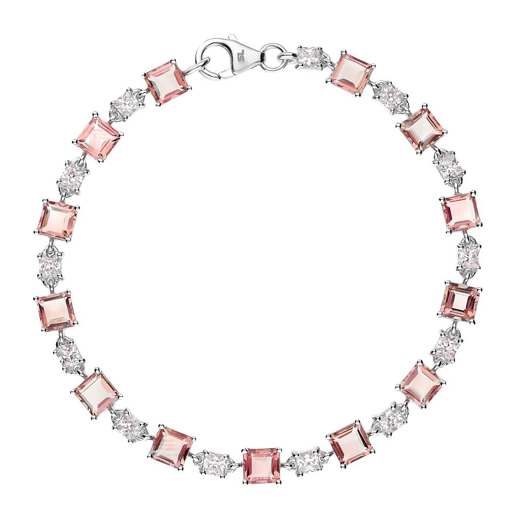 серебряный браслет с морганитами и фианитами
