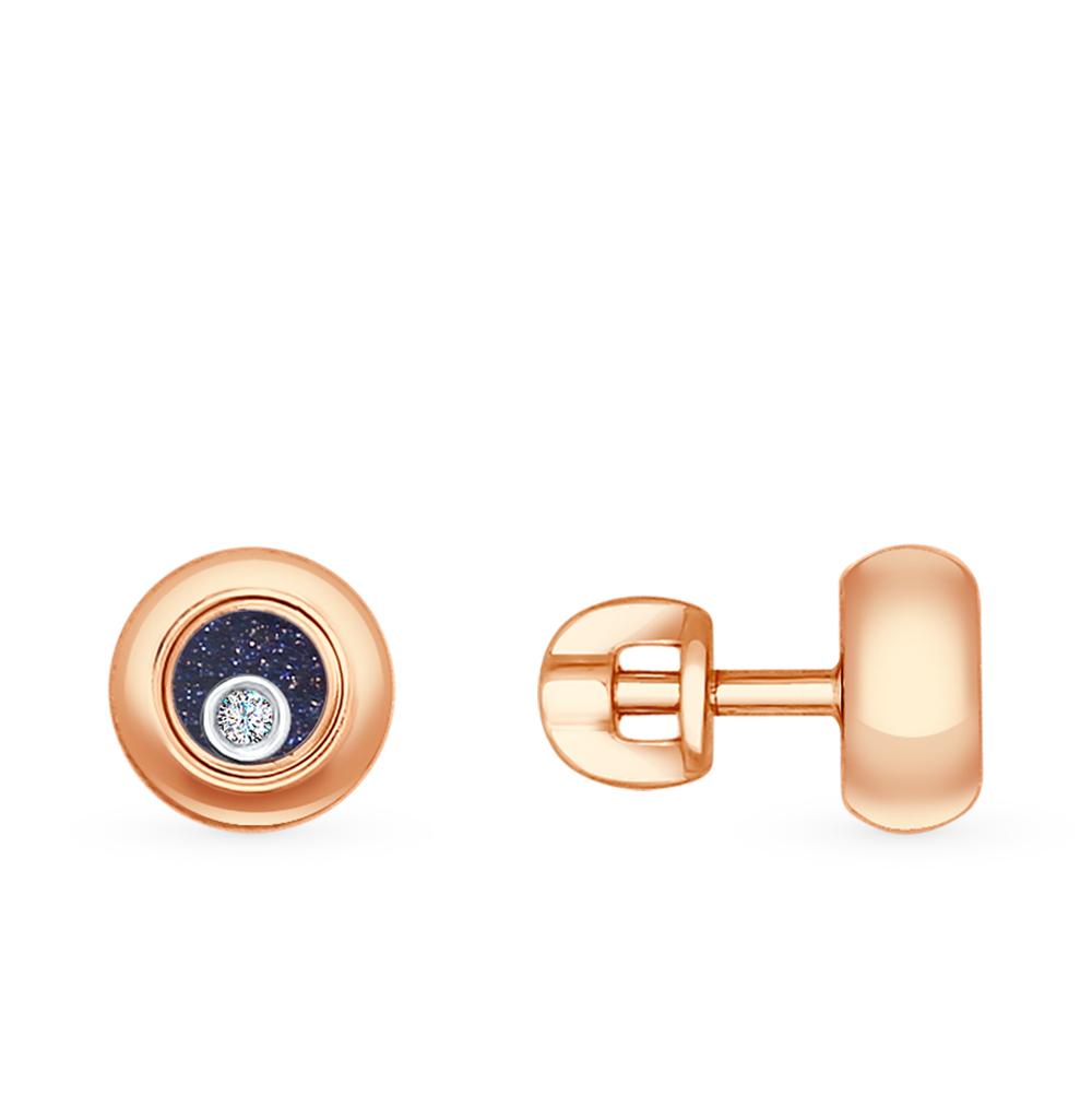 золотые серьги с авантюрином и сапфировыми стёклами SOKOLOV 1021095
