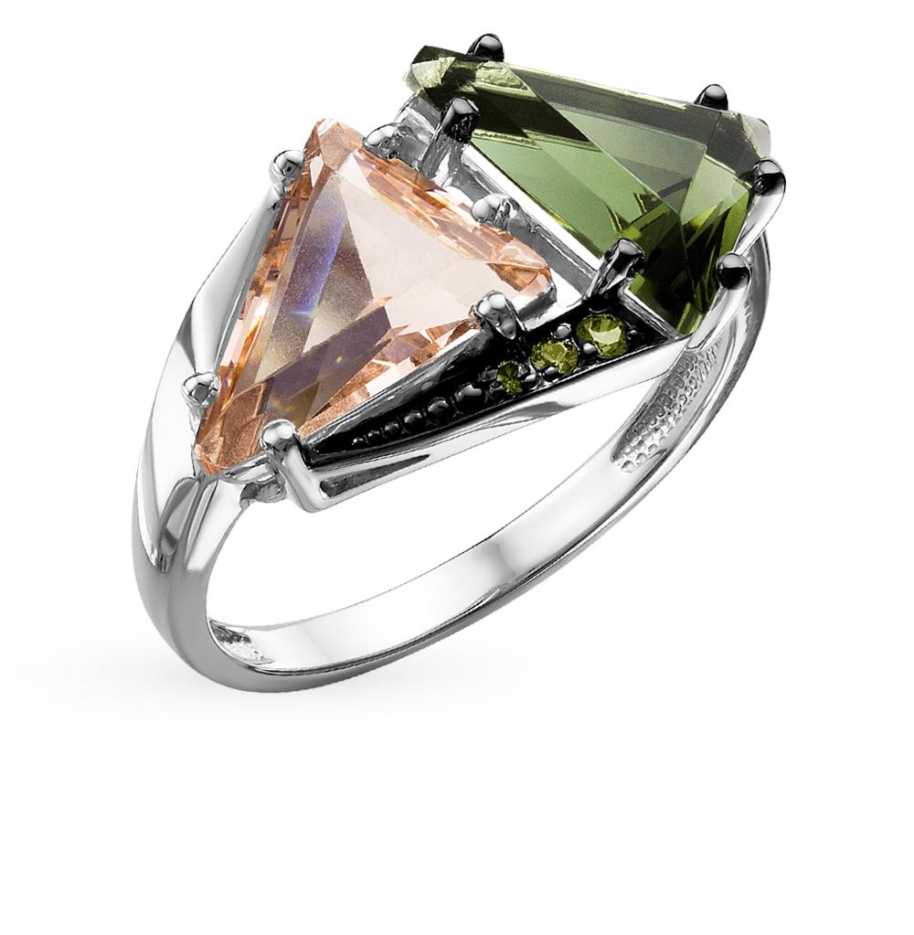серебряное кольцо с кристаллами и фианитами