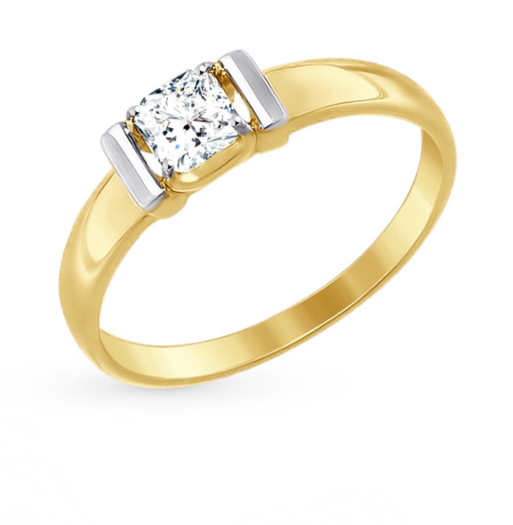 золотое кольцо с фианитами SOKOLOV 81010314-2*