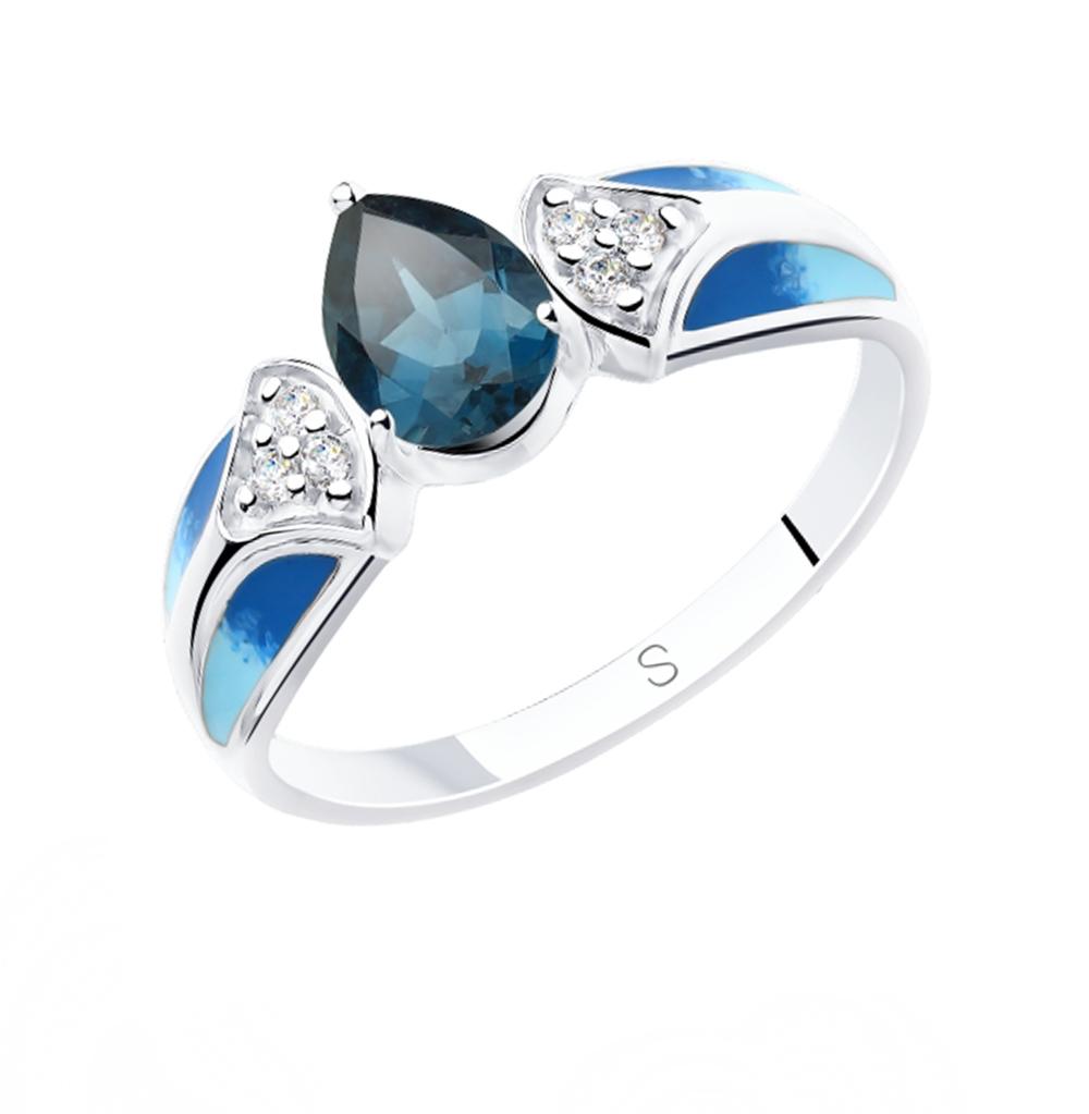 Фото «Серебряное кольцо с топазами, фианитами и эмалью SOKOLOV 92011801»