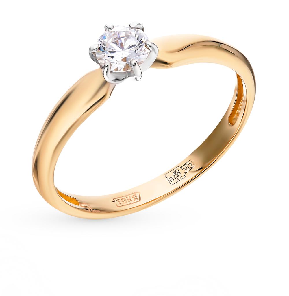 золотое кольцо с кристаллами