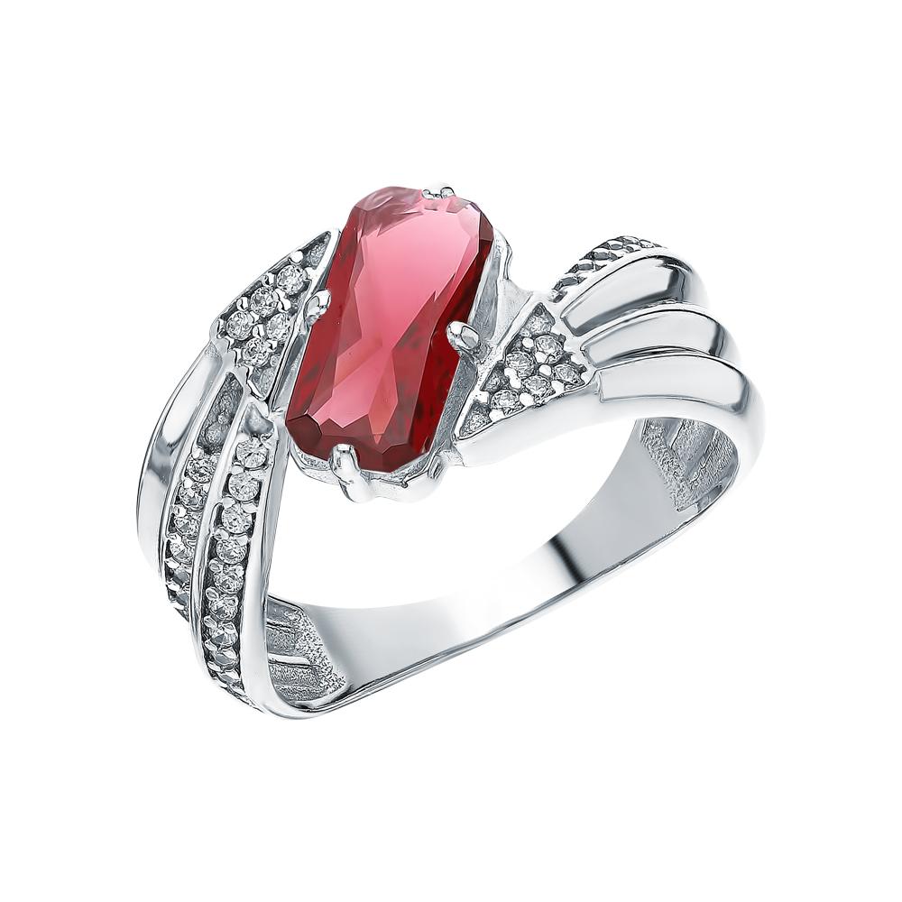 Фото «Серебряное кольцо с нанокристаллами, фианитами и гранатом»