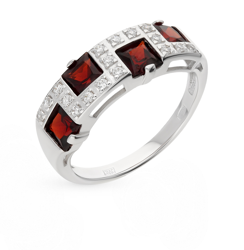 серебряное кольцо с фианитами и гранатом SOKOLOV 92010030
