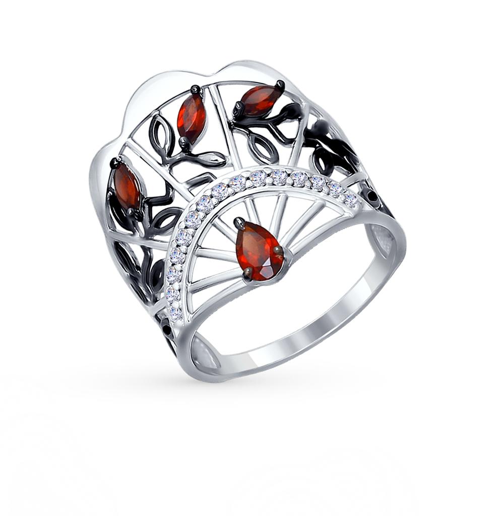 Фото «Серебряное кольцо с фианитами и гранатом SOKOLOV 92011277»