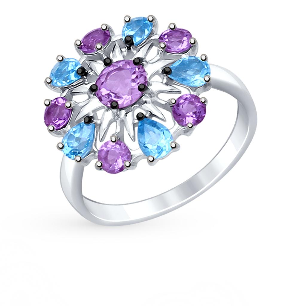 серебряное кольцо с аметистом, топазами и фианитами SOKOLOV 92011410