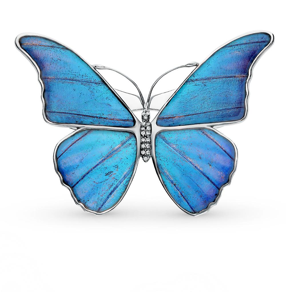 Фото «Серебряная брошь с фианитами, эмалью и крыльями бабочки, 6.5 см»