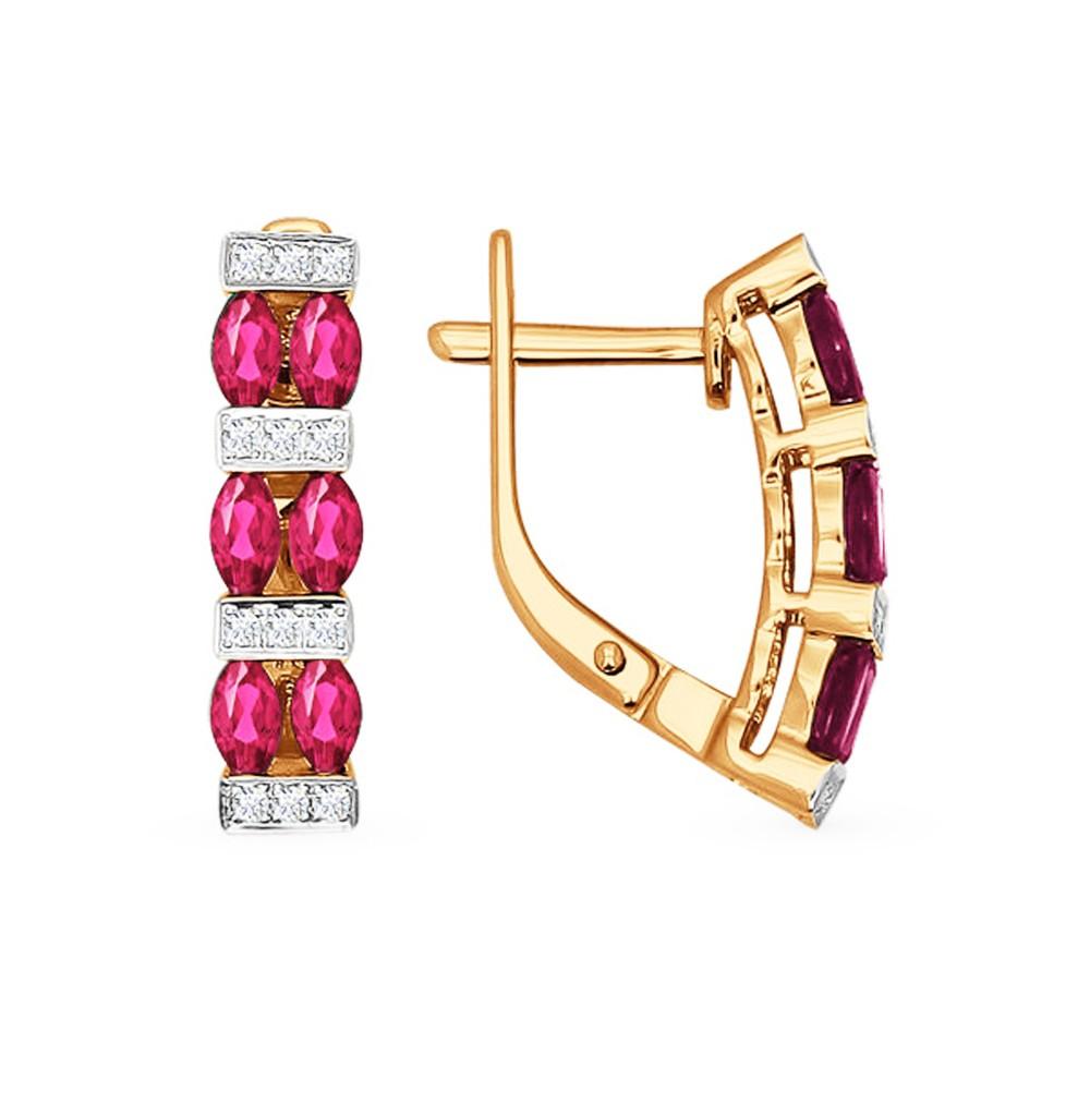 Фото «Золотые серьги с рубинами и бриллиантами SOKOLOV 4020323»