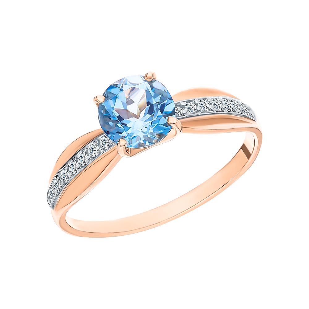 Фото «Золотое кольцо с топазами и фианитами SOKOLOV 715947*»
