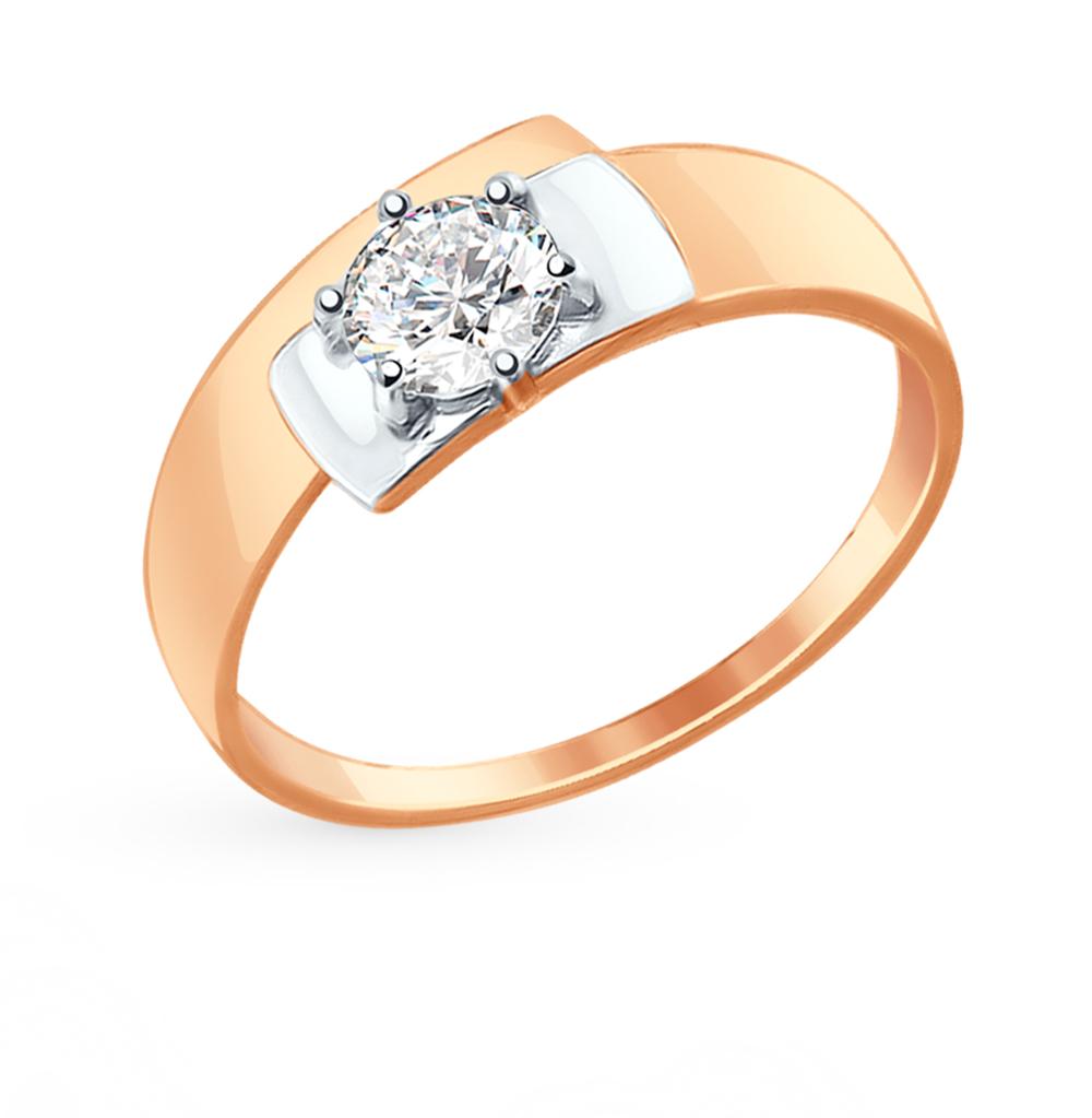 золотое кольцо с фианитами SOKOLOV 017412*