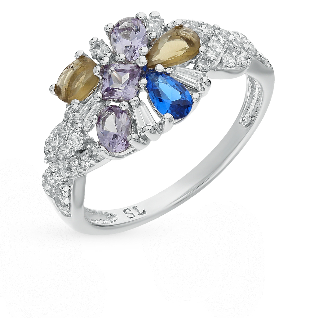 Фото «серебряное кольцо с александритами синтетическими и шпинелями синтетическими»