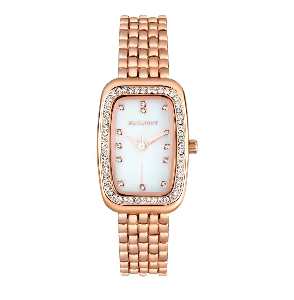 Фото «Женские часы с перламутром и кристаллами на металлическом браслете»