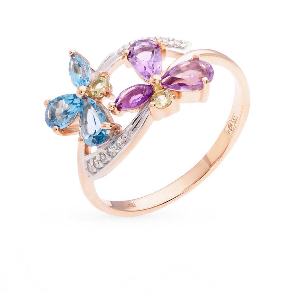золотое кольцо с аметистом, топазами и фианитами SOKOLOV 712129*