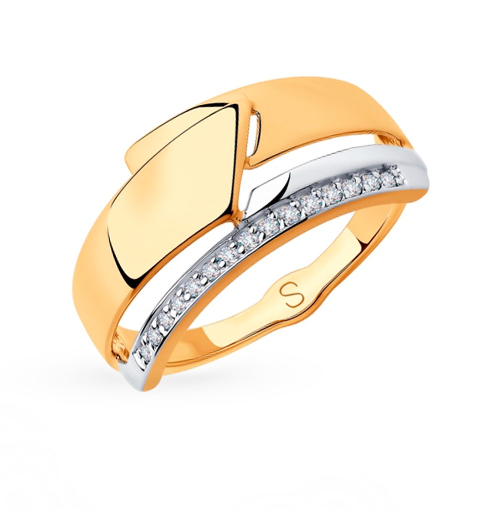 Фото «Золотое кольцо с фианитами SOKOLOV 018244»
