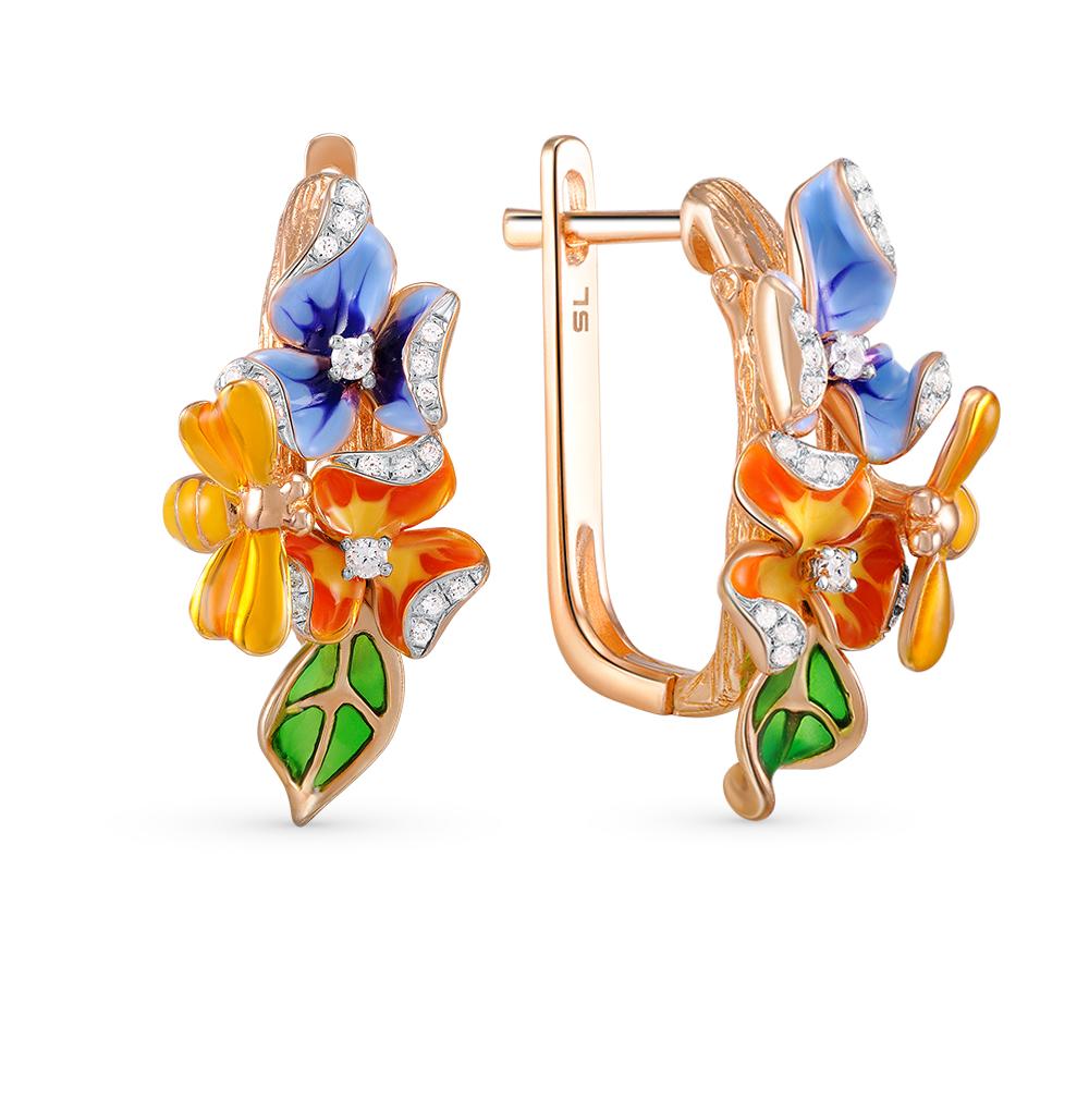 Фото «золотые серьги с эмалью и бриллиантами»
