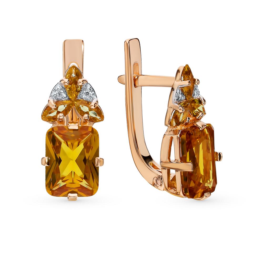 Фото «Золотые серьги с султанитами и фианитами»