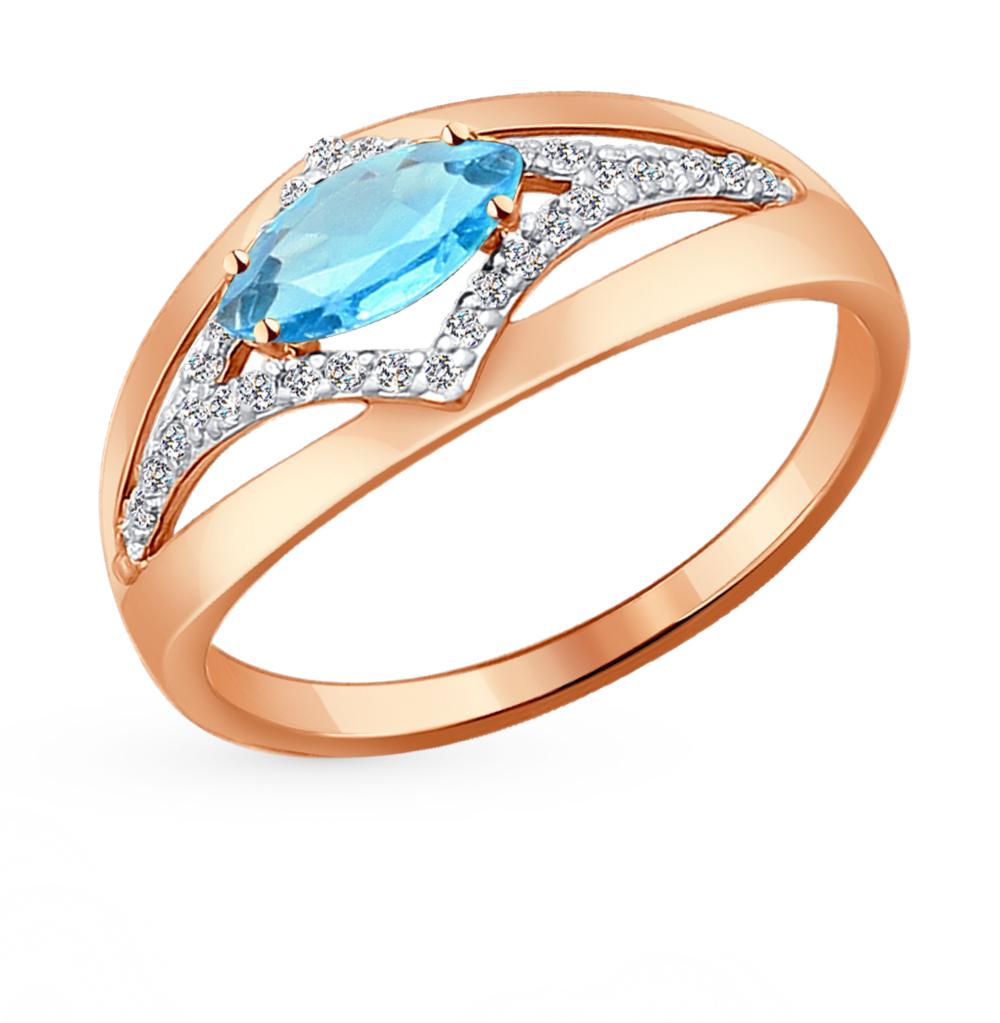 золотое кольцо с топазами и фианитами SOKOLOV 714219*