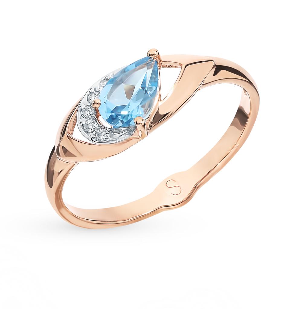 Золотое кольцо с топазом и фианитами SOKOLOV 715622*