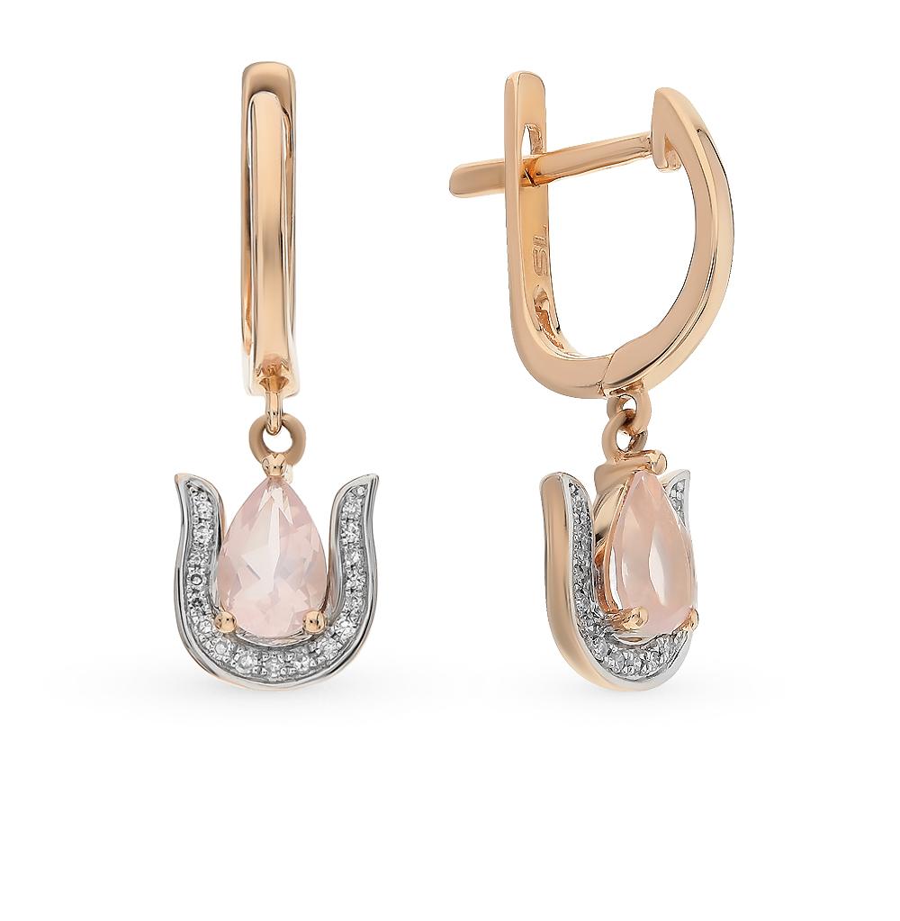 Золотые серьги с кварцем и бриллиантами в Екатеринбурге