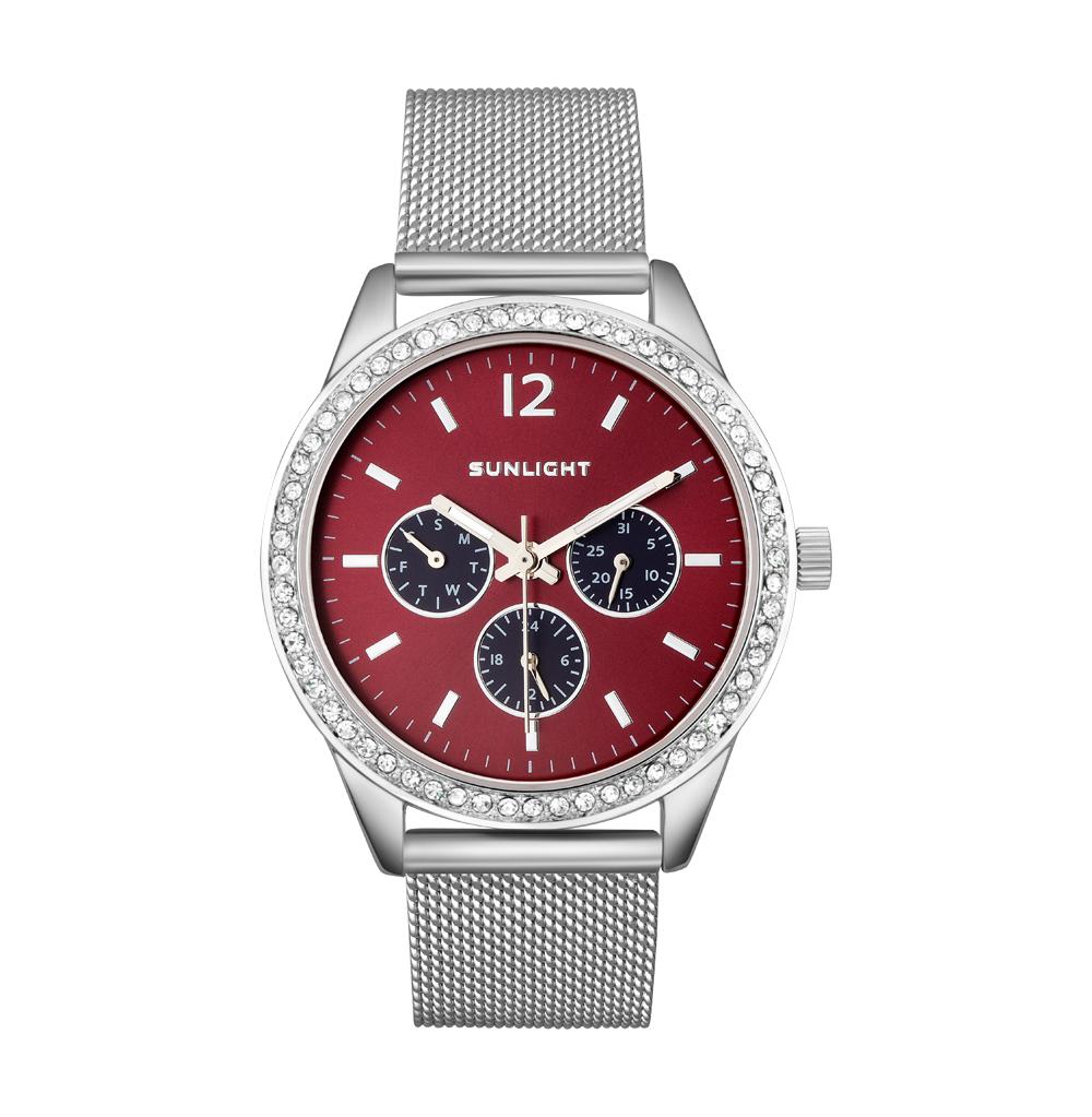 Женские часы с календарем на миланском браслете
