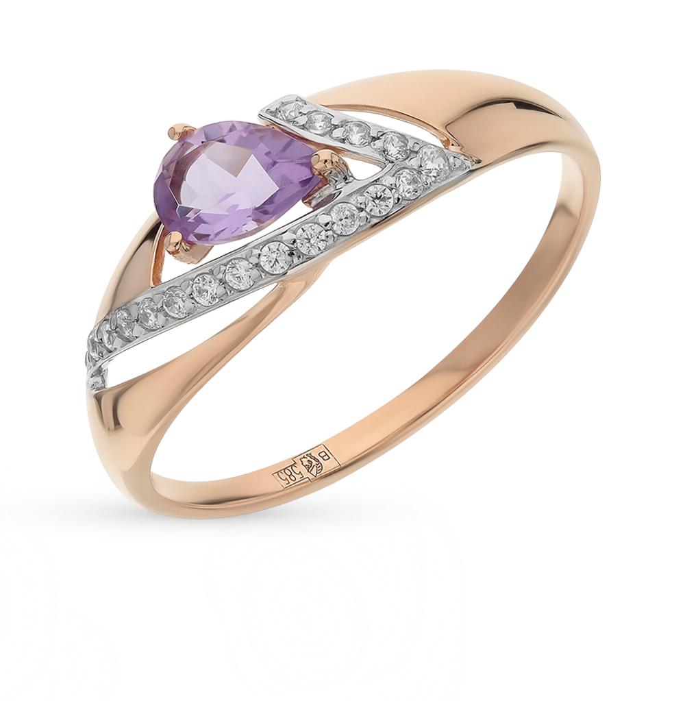 золотое кольцо с аметистом и фианитами SOKOLOV 714676*