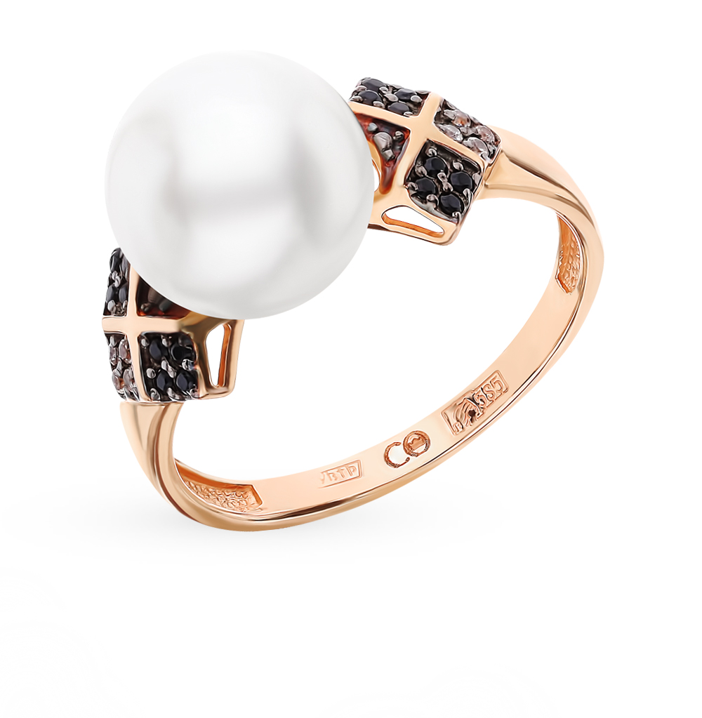 Золотое кольцо с фианитами, жемчугом и наношпинелями в Екатеринбурге